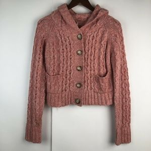 Free People Chunky Knit Salmon Hooded Cardigan